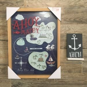 Ahoy Matey Pirate Map Picture & Ahoy Anchor Sign